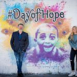 Pictured left to right is Comedian & actor Pat Shortt with daughter Lily proudly standing beside a colourful mural created by artist ADW for this #DayofHope event.